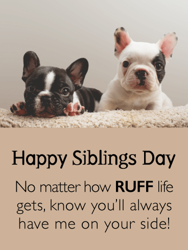 By Your Side in Ruff Times - Funny Siblings Day Card