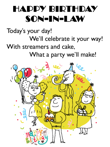 This Party is For You - Happy Birthday Card for Son-in-Law