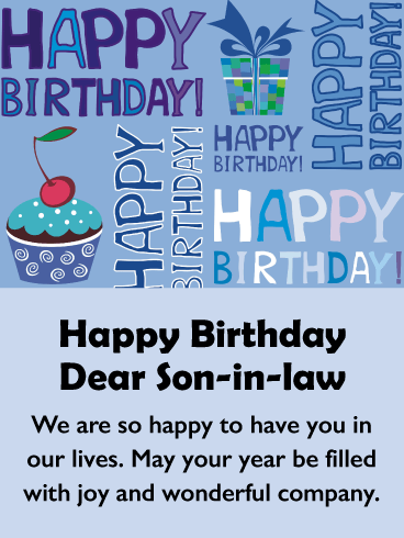 Part Of The Family Happy Birthday Card For Son In Law Birthday Greeting Cards By Davia