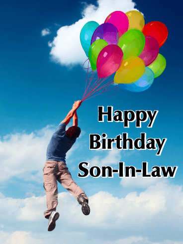 A Cloud of Balloons - Happy Birthday Card for Son-in-Law