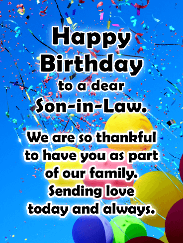 Thankful for You- Happy Birthday Card for Son-In-Law