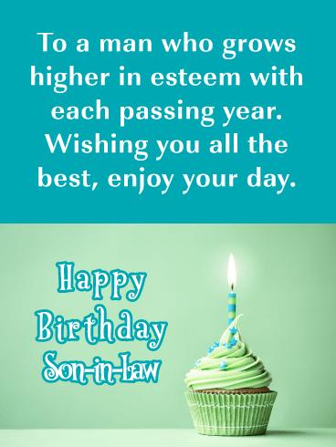 Growing In Esteem- Happy Birthday Card for Son-In-Law