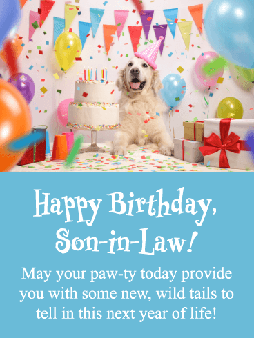 New, Wild Tails- Funny Happy Birthday Card for Son-In-Law