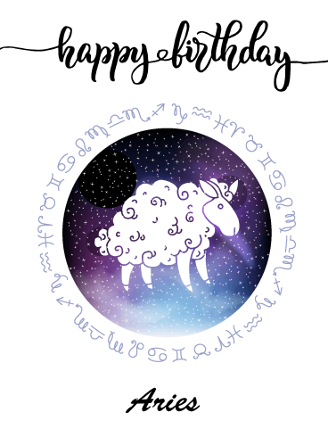 Zodiac Birthday Card for Aries (Mar 21 - Apr 19)
