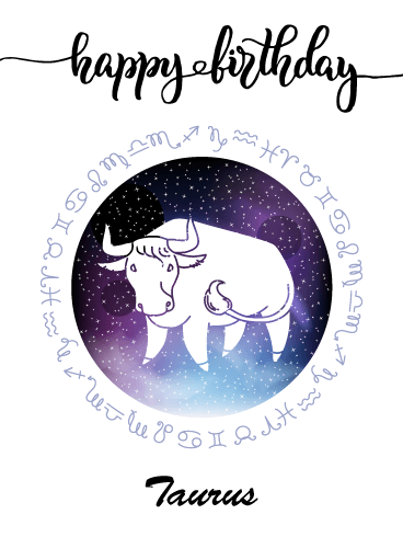 Zodiac Birthday Card for Taurus (Apr 20 - May 20)