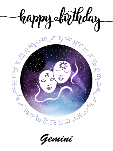 Zodiac Birthday Card for Gemini (May 21 - June 20)