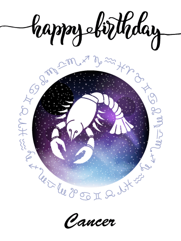 Zodiac Birthday Card for Cancer (Jun 21 - Jul 22)