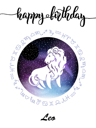 Zodiac Birthday Card for Leo (Jul 23 - Aug 22)