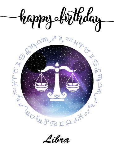 Zodiac Birthday Card for Libra (Sep 23 - Oct 22)