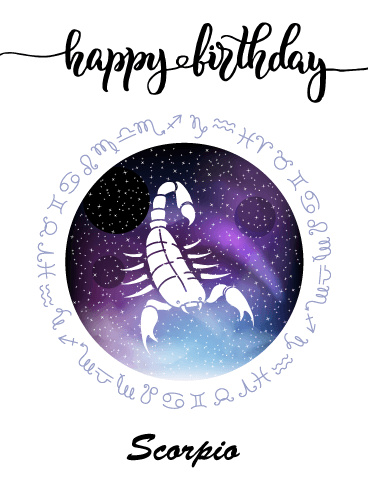 Zodiac Birthday Card for Scorpio (Oct 23 - Nov 21)