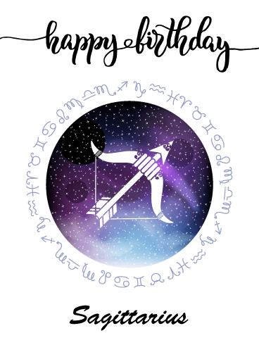 Zodiac Birthday Card for Sagittarius (Nov 22 - Dec 21)