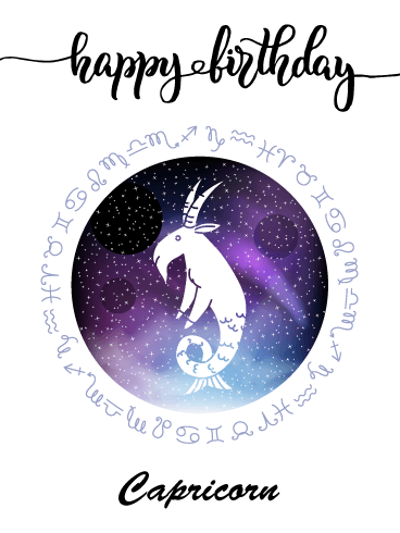 Zodiac Birthday Card for Capricorn (Dec 22 - Jan 19)