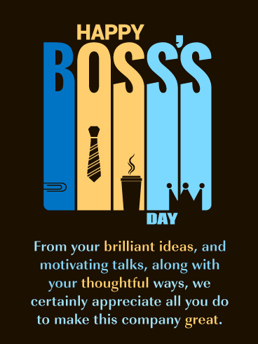 We Appreciate You - Happy Boss's Day Card
