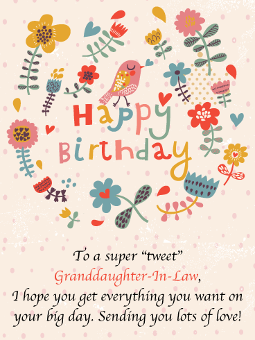 One Tweet Bird - Funny Happy Birthday Card for Granddaughter-In-Law