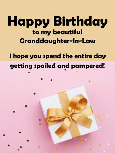 Pink and Gold Present - Happy Birthday Card for Granddaughter-In-Law