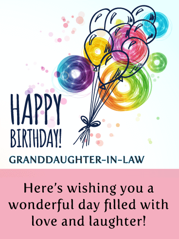 Doodle Balloons - Happy Birthday Wishes Card for Granddaughter-In-Law