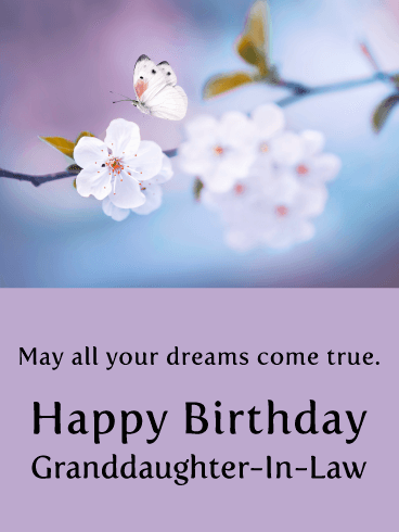 Butterfly Dreams - Happy Birthday Card for Granddaughter-In-Law