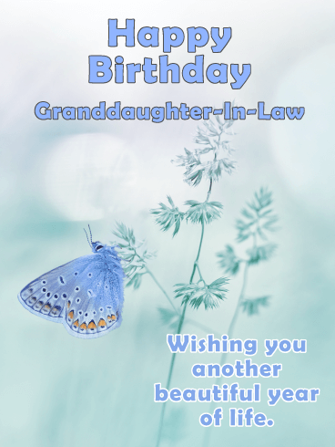 Blue Butterfly - Happy Birthday Card for Granddaughter-In-Law