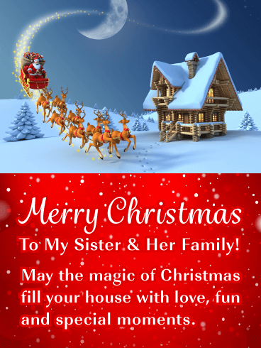 Merry Christmas Sister.Holiday Magic Merry Christmas Card For Sister Her Family