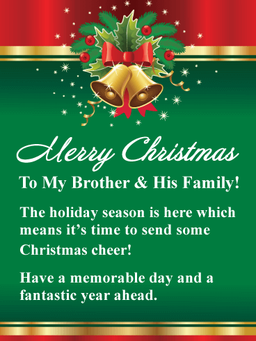 Golden Holiday Bells - Merry Christmas Card for Brother & His Family