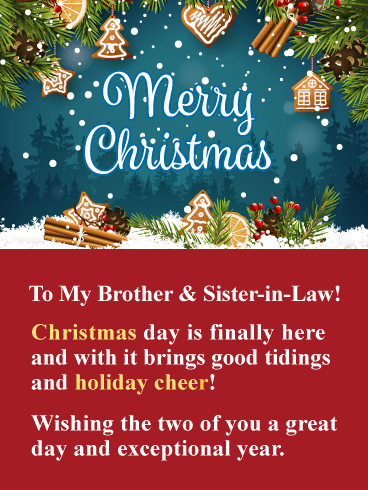 Holiday Cheer Merry Christmas Card For Brother Sister In Law Birthday Greeting Cards By Davia