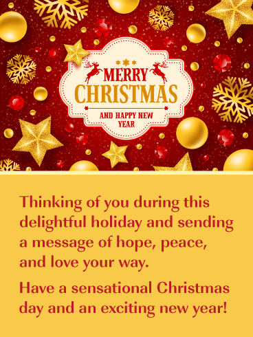 a delightful holiday merry christmas and happy new year card