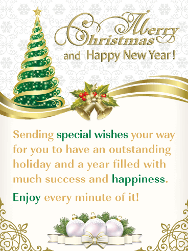 elegant holiday greetings merry christmas and happy new year card