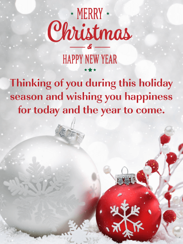 beautiful holiday ornaments merry christmas and happy new year card