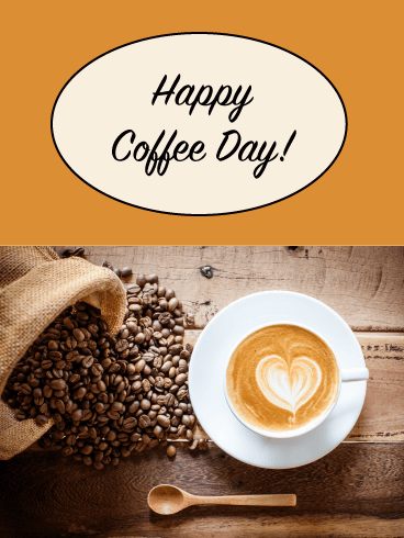Latte Art - Happy Coffee Day Card