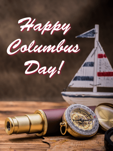 The Pioneering Spirit - Columbus Day Card