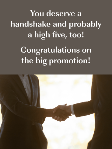 Handshake- Congratulations on the Promotion Card