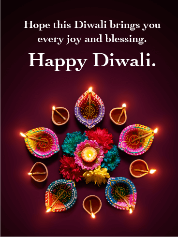 The Colorful Flowers and Candles - Happy Diwali Card