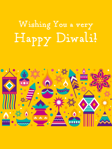 Colorful Symbols - Happy Diwali Card