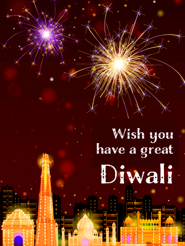 An Illuminated City - Happy Diwali Card
