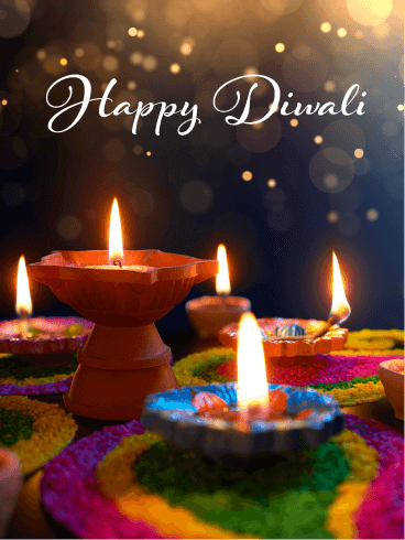 Colorful Candles - Happy Diwali Card