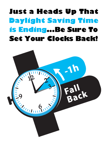 Fall Back One Hour – Daylight Saving Ends Card