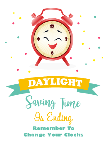 Adorable Clock – Daylight Saving Ends Card