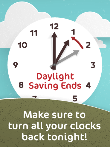 Giant Clock – Daylight Saving Ends Card