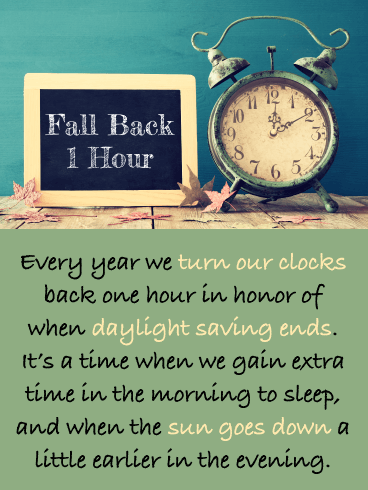 Vintage Alarm Clock - Daylight Saving Ends Card
