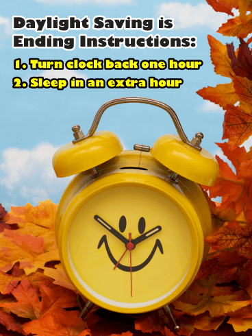 Turn Clock Back & Sleep In! Daylight Saving Ends Card