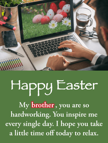 Hard Working Man - Happy Easter Card for Brother