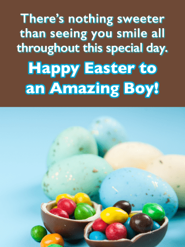 Blue and Turquoise Eggs-Happy Easter Cards For Boys
