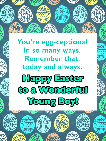 Decorated Eggs in Colorful Designs-Happy Easter Cards For Boys