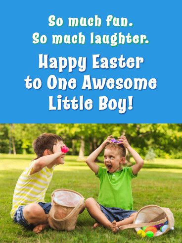 Colorful Eggs And Boys-Happy easter Cards For Boys