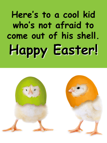 Two Little Chick With Their Shells-Happy Easter Cards For Boys