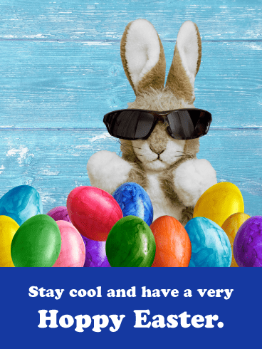 Cool Bunny- Funny Happy Easter Card for Boys