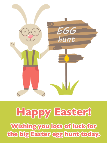 Egg Hunt- Happy Easter Card for Boys