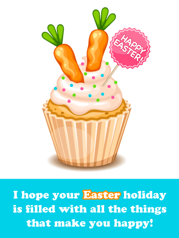 Carrot Cupcake- Happy Easter Card for Boys