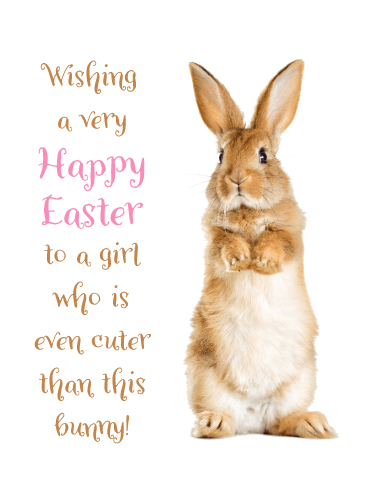Brown Bunny- Happy Easter Card for Girls