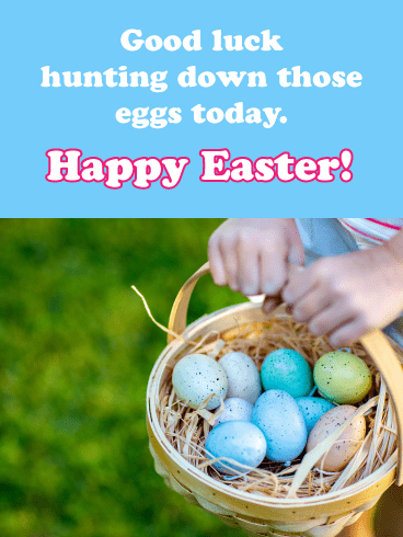 Egg Hunting- Happy Easter Card for Girls